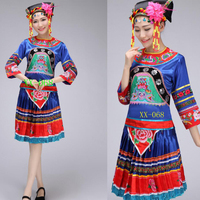 Adults miao clothing Outfits Women Chinese folk dance wear costume traditional chinese costume pleat skirt