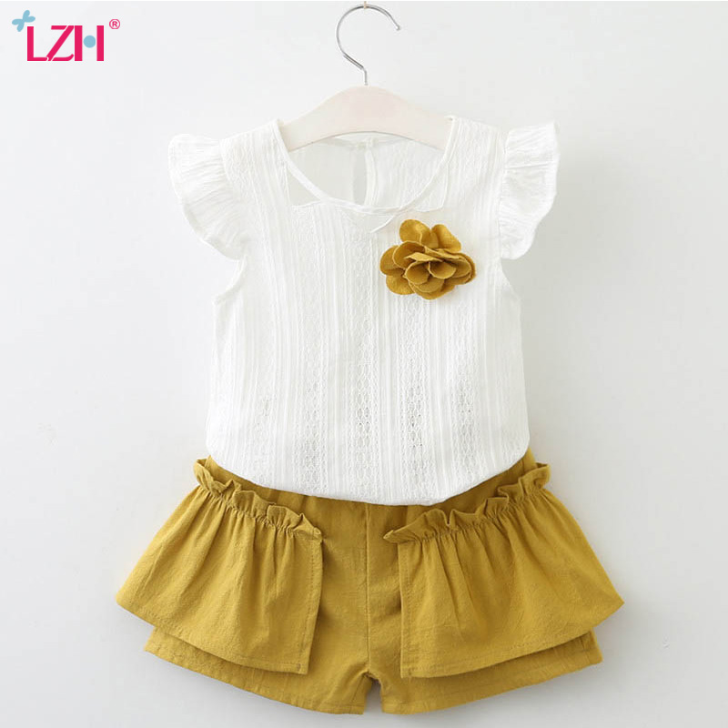 LZH Children Clothing 2018 Summer Girls Clothes T shirt+Shorts 2pcs Outfit Kids Girl Sports Suit ...