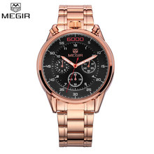 MEGIR Chronograph Multifunction Watch Famous Brand Luxury Men Full Steel Rose Gold Watches Military Watch Relogio