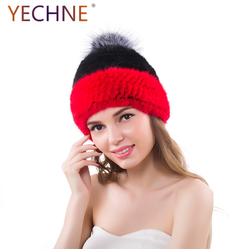 b068f99ccd0b6 ... Women s Winter Knitted Hats Women Real Mink Fur Hats With Silver Fox  Fur Pom Poms Two ...