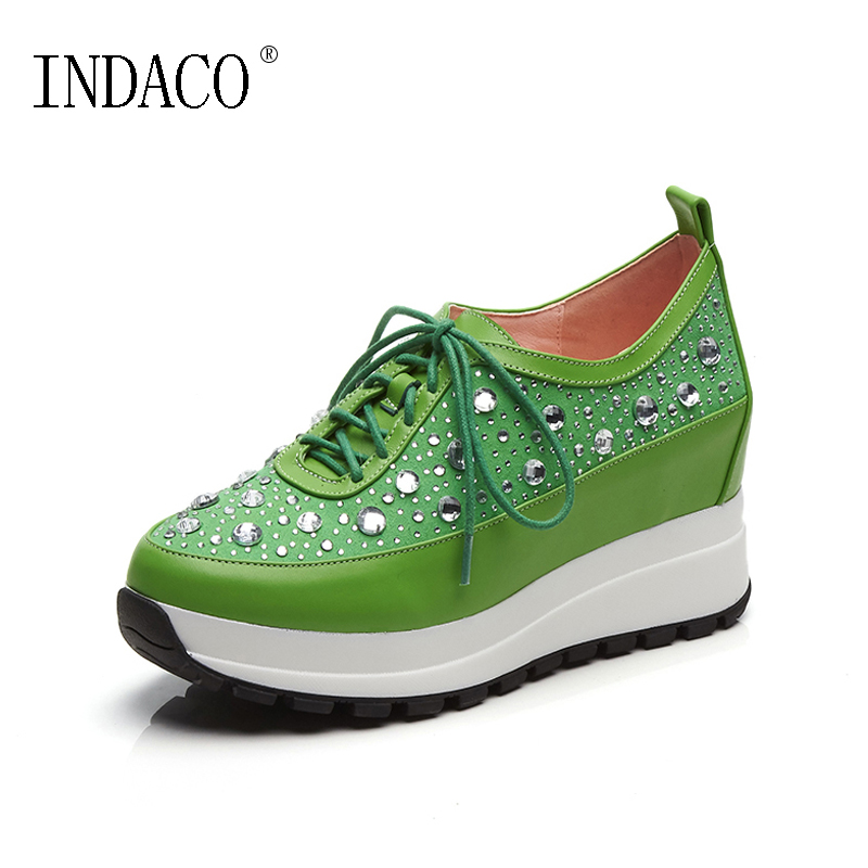 2018 Spring Genuine Leather Green Pink Rhinestone Lace Up Women Sneakers Platform Casual Shoes 4cm Zapatos Mujer Plataforma vtota women genuine leather oxfords sneakers women white flat shoes spring platform shoes zapatos mujer lace up casual flats f93