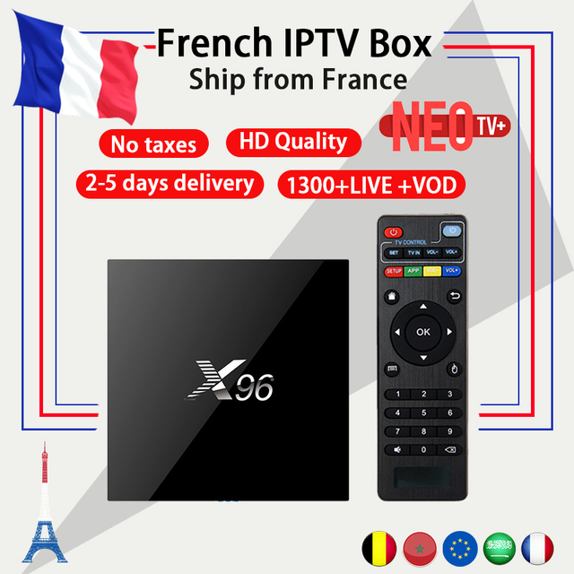Best Arabic French IPTV box Benelux NEO+ IPTV code 1200+ LiveTV with X96  Android Box 6 0 4K Amlogic Smart TV Box set top box-in Set-top Boxes from