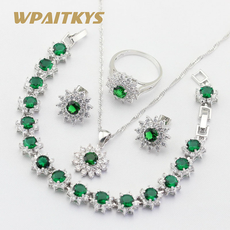 Green Stones White CZ Silver Color Jewelry Sets For Women Flower Shape Earrings Bracelet Rings Necklace Pendant Free Gift Box stylish rhinestoned flower spiral shape pendant necklace for women