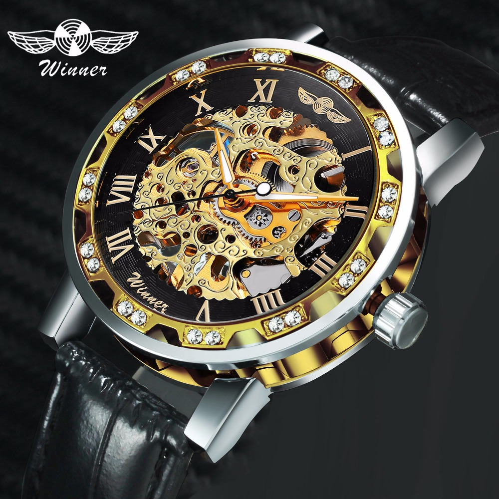 WINNER Official Brand Luxury Watch Man 2019 Skeleton Mechanical Watches Crystal Iced Out Leather Strap Wristwatches Lover's Gift