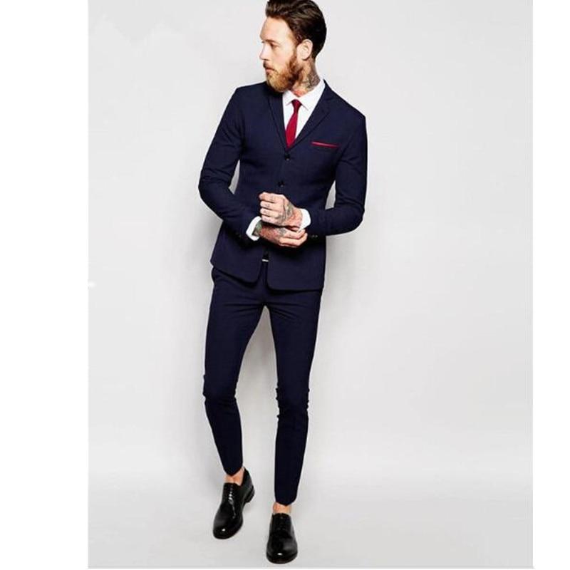 820e489da403b 2017 nueva moda 4 Botones azul marino mens Trajes formal Esmoquin mejor  hombre boda Trajes para hombres partido prom wear traje (chaqueta +  Pantalones) en ...
