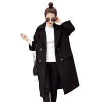 Venta caliente 2017 Nuevo de Las Mujeres de Moda Medio Largo Da Vuelta-abajo Doble de Pecho Outwear Otoño Invierno Abrigo de Lana Casaco Feminino