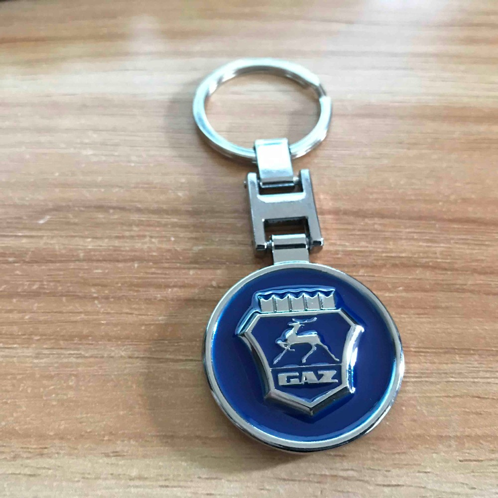 9cm Metal Blue style Shield key ring Carved GAZ LOGO fashion Keychain best gift llaveros Diecast Car Volga GAZ Car accessories in Key Rings from Automobiles Motorcycles
