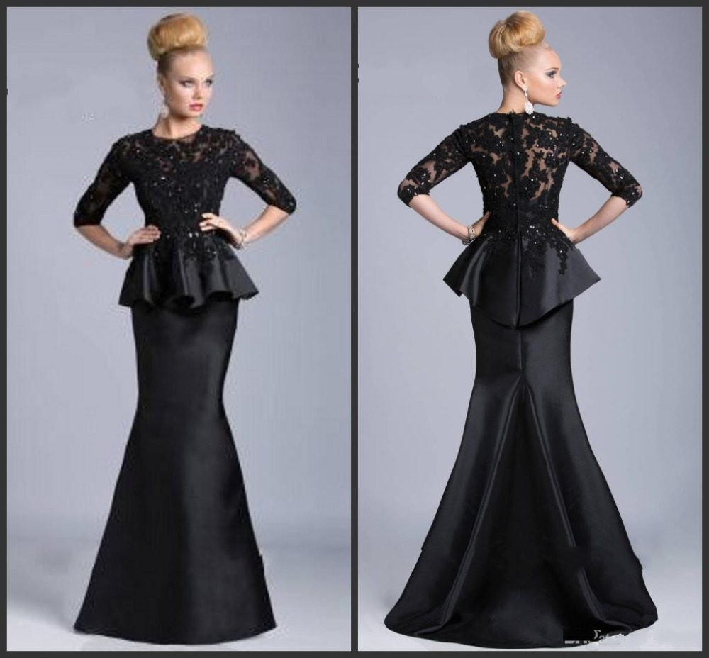 Black Mermaid Two Piece Mother Of The Bride Dresses Lace Appliques 3/4 Sleeves Taffeta Vestido Festa Madrinha Evening Party Gown