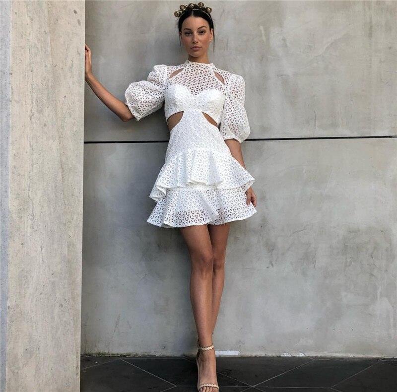 2019 New arrive white lace mini Dresses