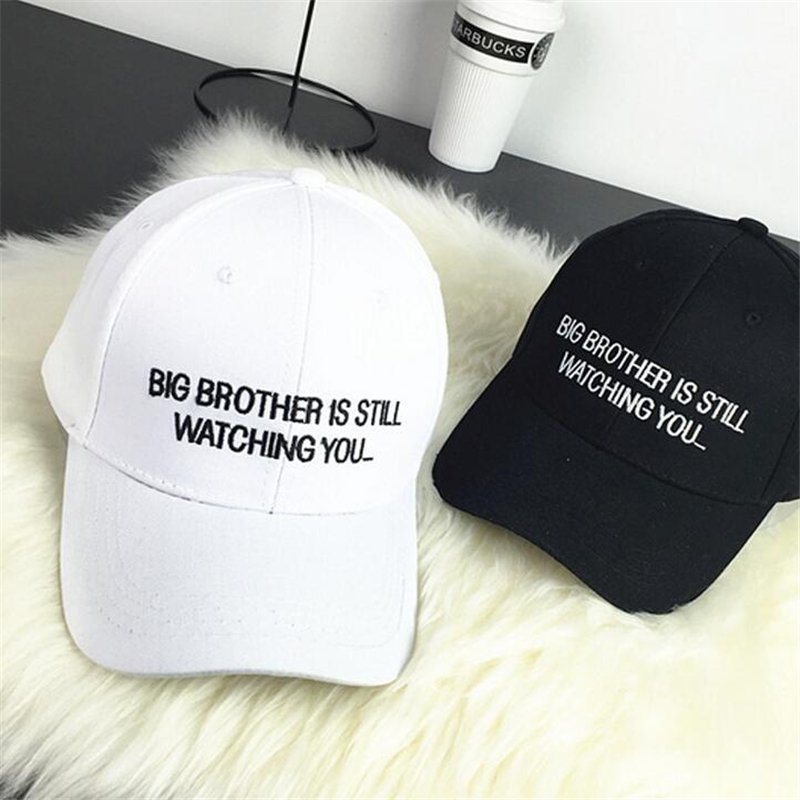 LETTER  Big Brother Is Still Wachting Adjustable Cotton Casual Brand Strapback Snapback Hat Hiphop Cap Men Women Sport Cap Bone hot sale adjustable men women peaked hat hiphop adjustable strapback baseball cap black white pink one size 3 colors dm 6
