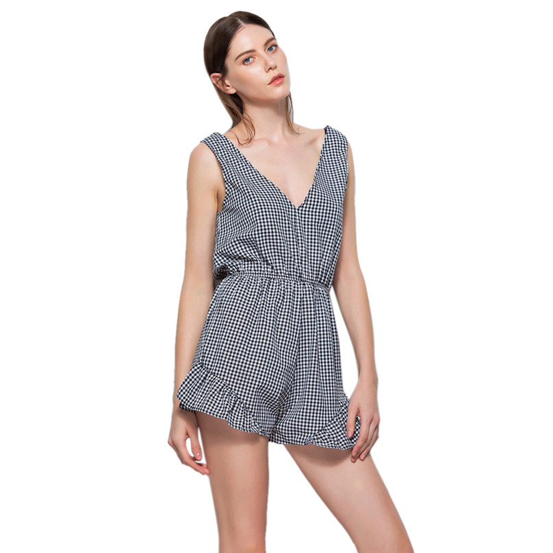 Sexy Jumpsuit For Ladies Black Sleeveless Deep V-Neck Playsuits Womens Summer Style Plaid print Vest Bowknot #MK5830
