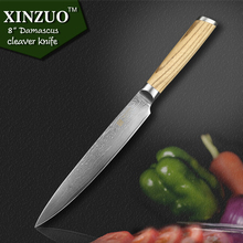 "XINZUO 8 "" cleaver knife 73 layers Japanese Damascus kitchen knife kithcen tools senior Sashimi knife LOGS handle free shipping"