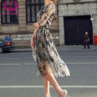 2017 Women Fashion Vintage Dress Printing Half Sleeve Midi Dress Elegant V Neck Summer Slim