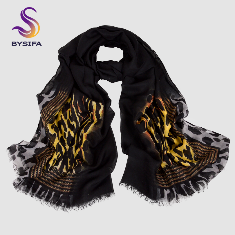 BYSIFA| Autumn Winter Ladies Wool   Scarves   Fashion Accessories New Women Leopard Print Long   Scarves   2018 Oversized   Scarves     Wraps