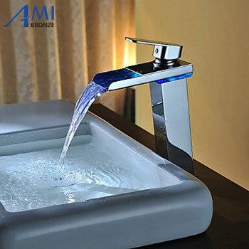 Higher  Battery RGB LED light Bathroom Basin Sink Mixer Tap Brass  Waterfall Faucet