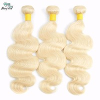 Young look Peruvian Human Hair Blonde 3 Bundles Body Wave Bundles 613 Hair Bleached 100% Human Curly Weave Hair Extensions