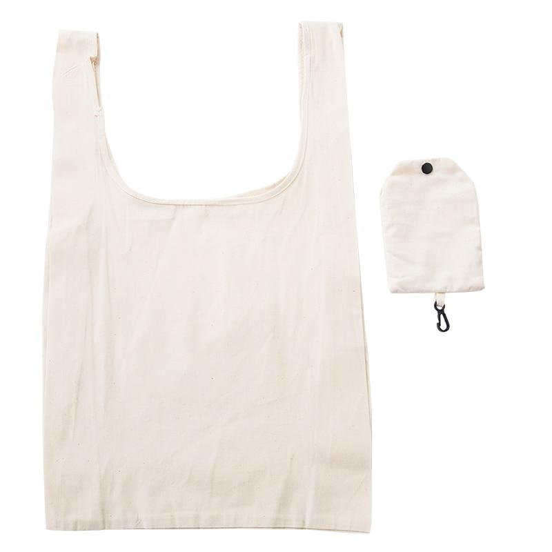 New ECO Cotton Shopping Bag Folding Package Women Men Reusable Canvas Fold Pouch White