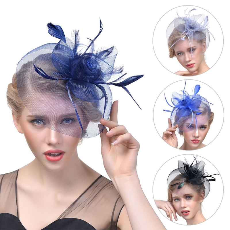 Lady Women Fascinator Mesh Flower Hair Clip Feather Hat Wedding Party Bridal New(China)