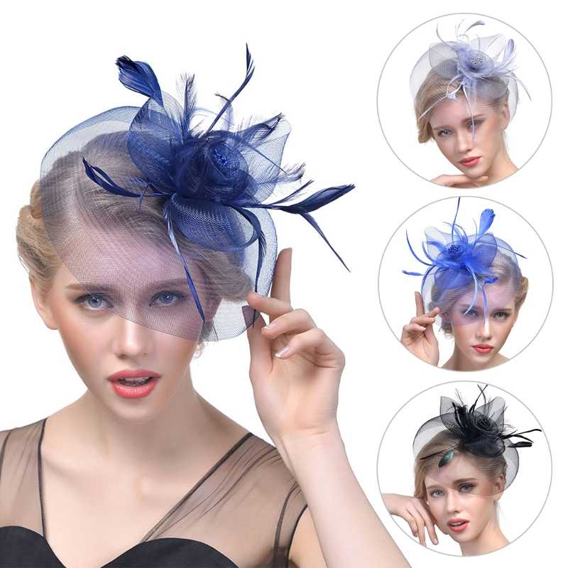Lady Women Fascinator Mesh Flower Hair Clip Feather Hat Wedding Party Bridal New