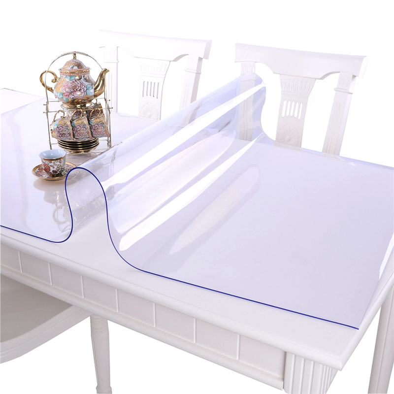 kitchen home oil proof soft glass waterproof transparent floral anti scald Dining rectangular PVC mat cover