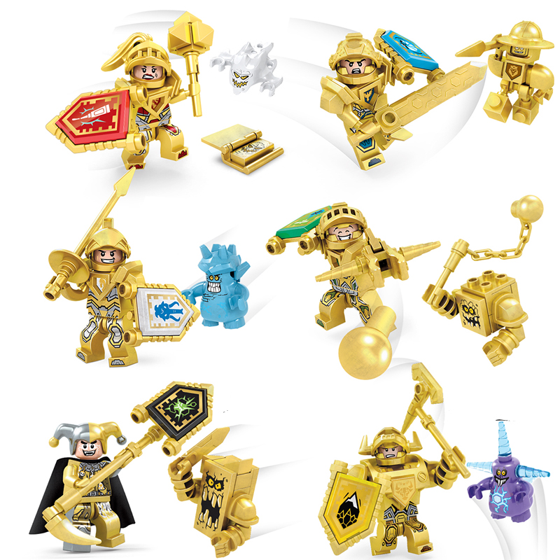 2017 New 6pcs Golden Nexus Soldier Futrue Knights Aaron Building Blocks Figures Toys For Children Gift Compatible With Lego 2017 new lepin 14004 knight beast master s chaos chariot building blocks sets gift toys compatible nexus knights bricks 70314