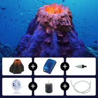 Aquarium Decor Decorations Volcano Stones for an Aquarium with Red LED Spotlight Oxygen Pump Aerator