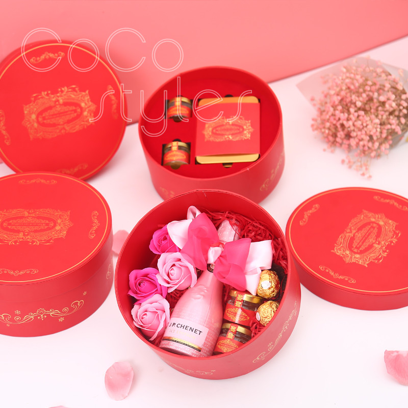 Cocostyles custom populal premium chinesestyle gift box with champagne chocolate honey for babyshower wedding present for guests