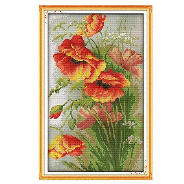 2017 Needlework,DIY DMC 14CT Cross stitch Kit, Poppy Flowers Pattern Embroidery Cross-stitch Painting Home Decor New
