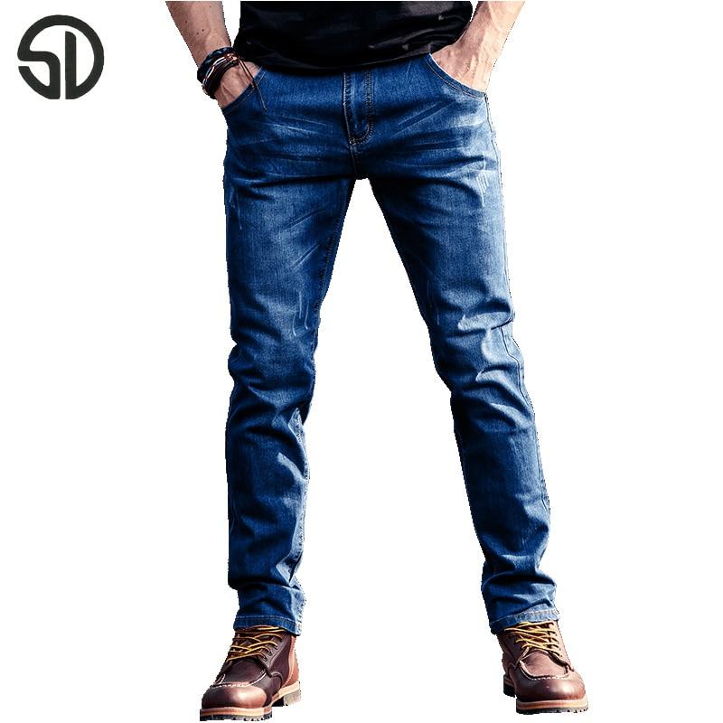 Jeans Men Casual Pants Elastic Motorcycle Jeans Slim Famous Brand Classic Biker Denim Long Stretch Hole Pants Jeans Trousers фото