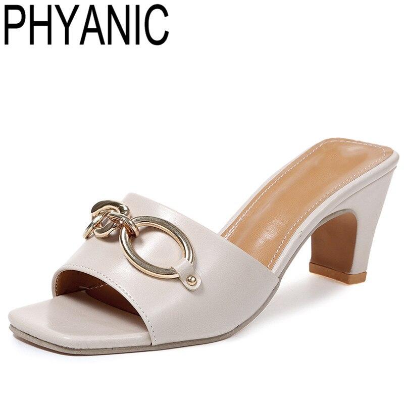 PHYANIC Высокое качество Женская обувь брендовые вьетнамки женские летние шлепанцы без шнуровки обувь Изящные толстый высокий каблук Тапочки