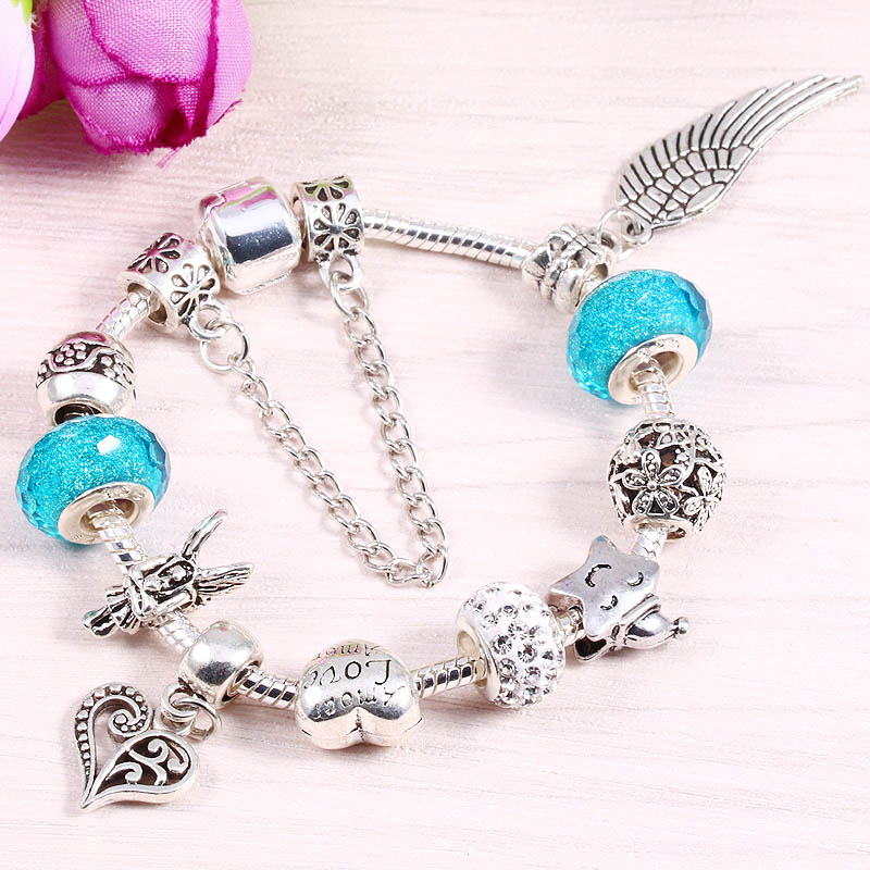 JUNESNOW 2018 European Style Crystal Charm Bracelets For Women With DIY Glass Beads Pandora Bracelets & Bangles Pulseras ...