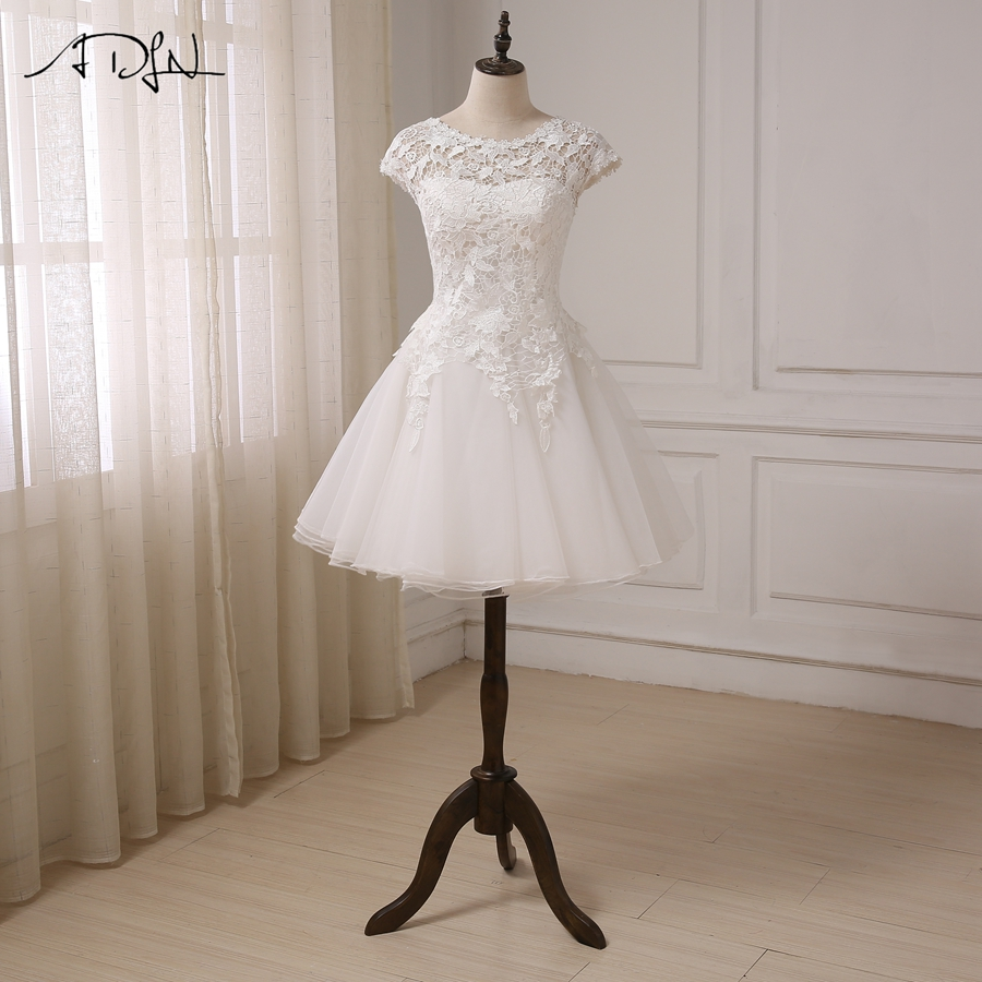 Discount Bridal Gowns: ADLN Cheap Lace Wedding Dress Short Sleeves Scoop Neck A