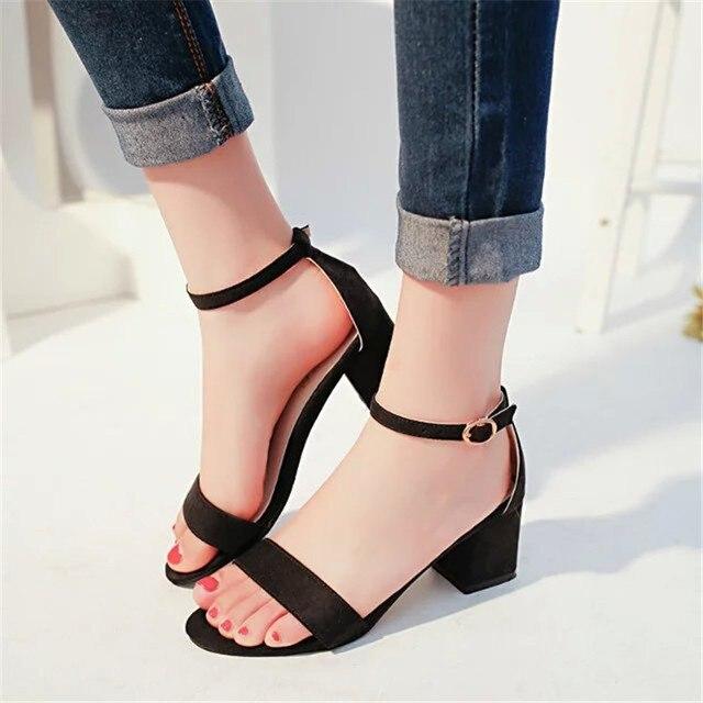 despeje 2019 mejor nuevo producto 2019 verano nuevos tacones altos zapatos de mujer con punta abierta gamuza  Sexy palabra hebilla mujeres sandalias tobillo Correa Roma zapatos 34-40