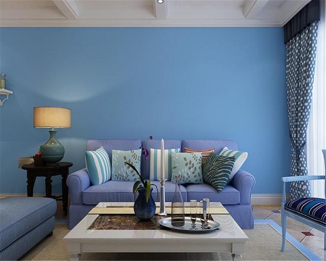 Licht Blauwe Slaapkamer : Beibehang mode mediterrane licht blauwe kleur effen vliesbehang