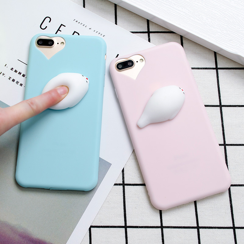 LANCHE Squishy Phone Case for iPhone 6 6S Plus 7 7Plus 3D Cute Sea lions Pappy Soft Candy TPU ...