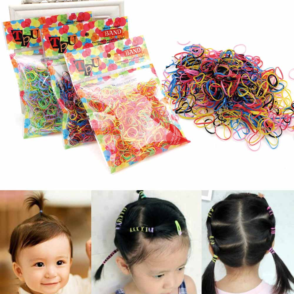 Clearance 1000PCS/lot Girls Elastic Hair Bands Small Rubber Scrunchy Kids Mix Color Princess Hair Accessories TPU Loop Ornament
