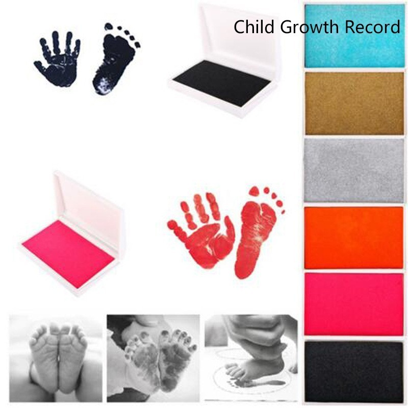 Parent-Child Hand Inkpad Infant Fingerprint Watermark Toy Baby Care Non-Toxic Baby Handprint Footprint Imprint Growth Record