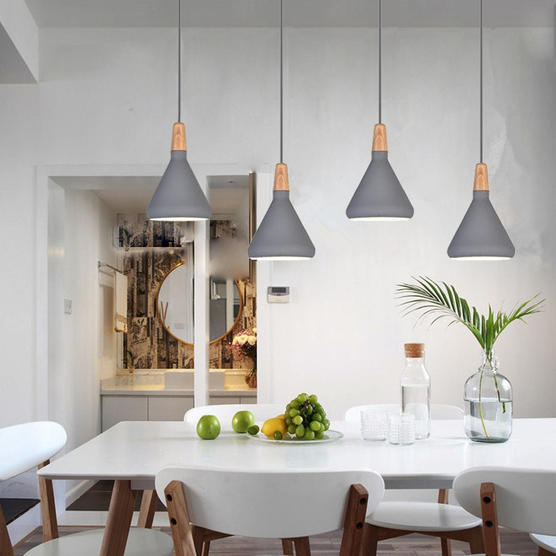 Bar Pendant Lighting Kitche Gray Pendant Light Modern LED Lamp Hotel Wood Lights Room Study Office Ceiling Lamp Bulb Include|Pendant Lights| |  - title=