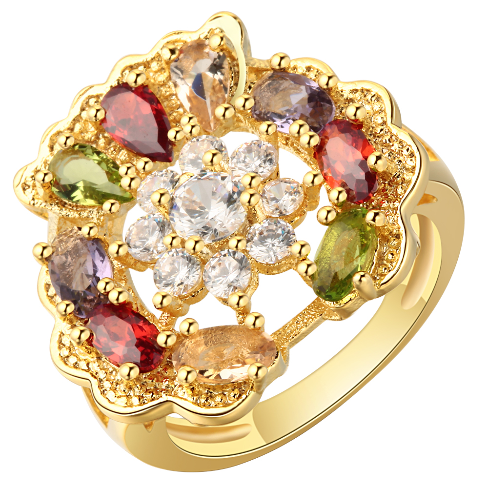 Trendy wedding ring Multi color crystal AAA zircon vitality gold filled fashion jewelry luxury noble engagement rings for women