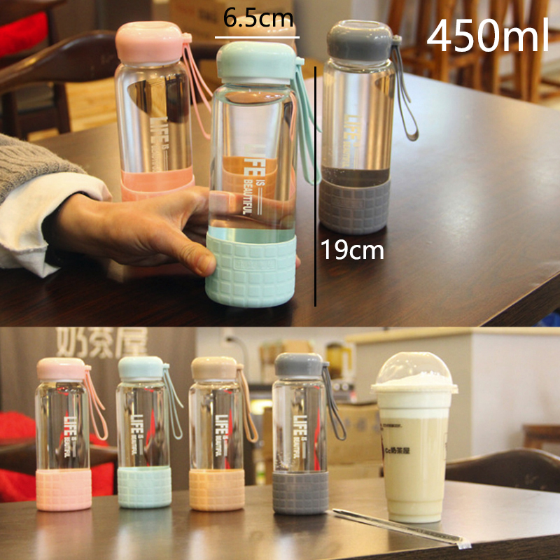 450ml Sport Style Glass Water Bottle Portable Bicycle Tour Transparent Office Bottle in Water Bottles from Home Garden