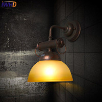 IWHD Glass Industrial Wall Lamp Loft Style Retro Iron Wall Light For Home Lighting Fixtures Rust color Bedroom Sconce Arandela