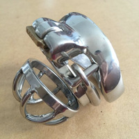 Super Small Male Chastity Device Stainless Steel Cock Cage With Barded Anti off Ring Stealth Lock Chasity Cage Sex Toys For Men