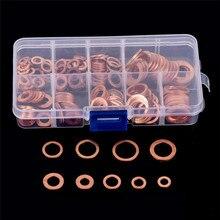 200 шт медная шайба прокладки набор плоское кольцо уплотнение Ассортимент Комплект с коробкой M5-M14