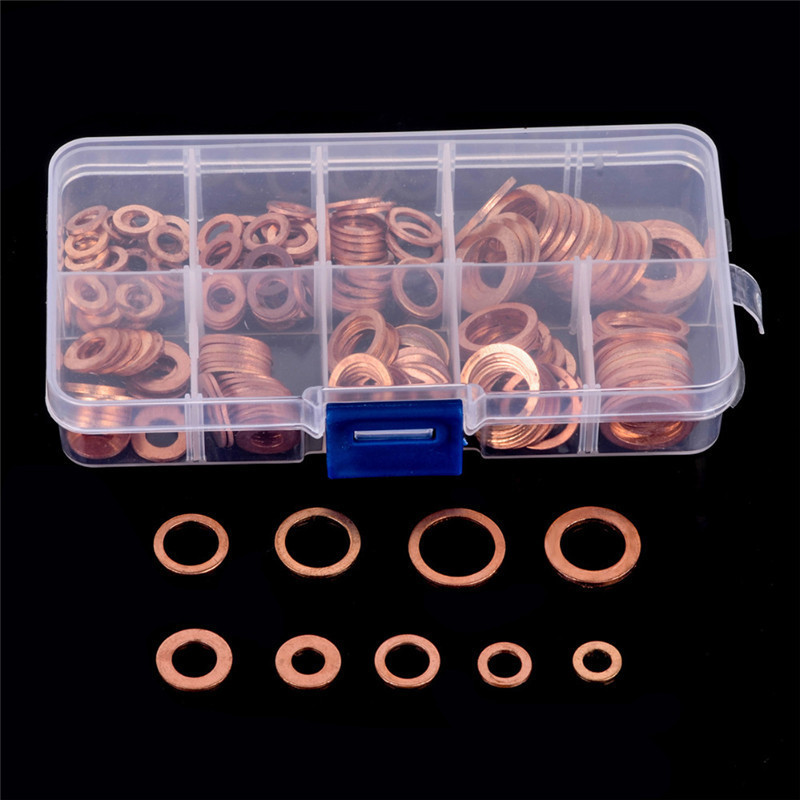 200 Pcs Copper Washer Gasket Shims Set Flat Ring Seal Assortment Kit With Box M5-M14