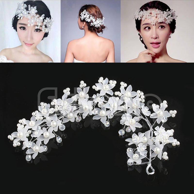 Wedding Bridal Prom Party Faux Pearl Flower White Hair Band Headband Tiara Hot