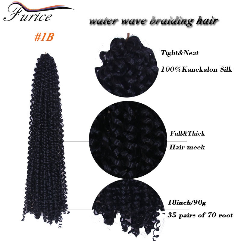 Box Braids Water Wave Bulk Crochet Latch Hook Braiding Hair 18inch