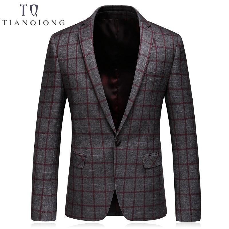 TIAN QIONG Blazer Men Gray Plaid Wool Blazer Mens Formal Jacket Blazers for Stylish Men's Casual Slim Fit One Button Suit Jacket