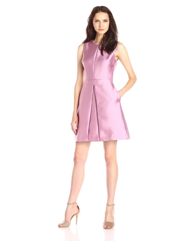 ∞De Sophie Satin Flare a-line vestido de señoras sin mangas cortas ...