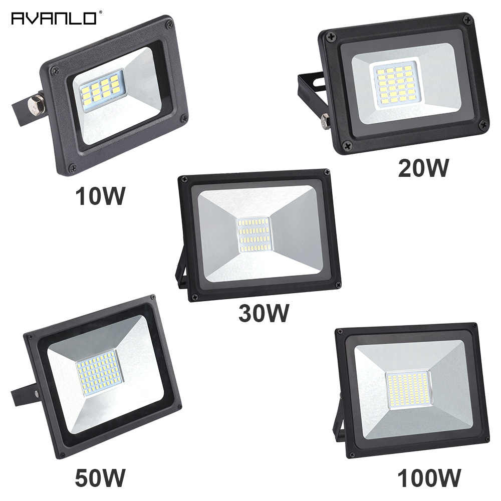 LED Floodlight 100W 50W 30W 20W10W Ultra Thin Led Flood Light Spotlight Outdoor 220V IP65 Outdoor Wall Lamp Flood Light Led