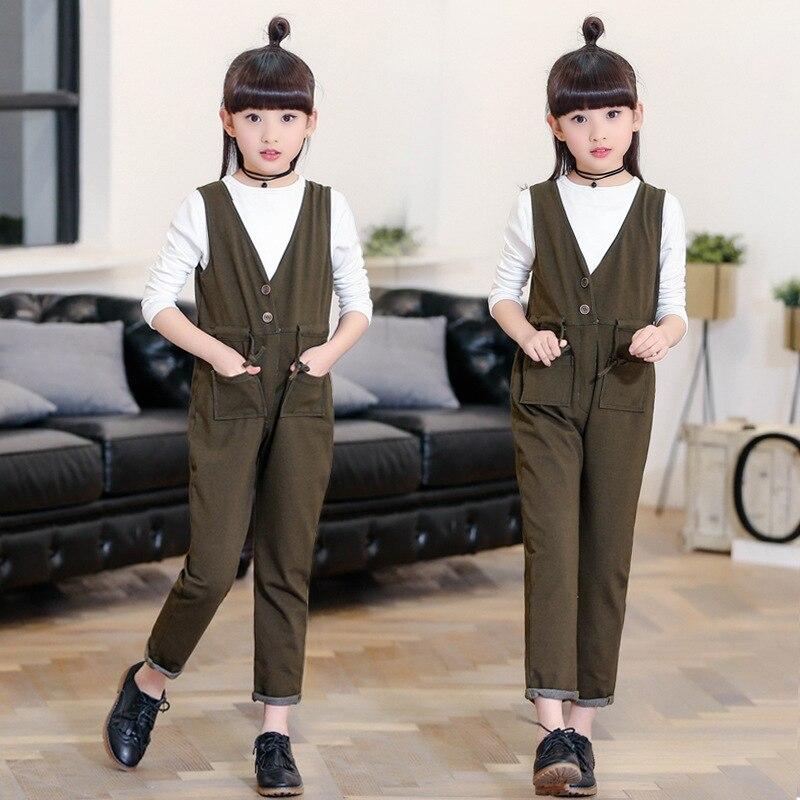 2017 Spring New Product Girl Child Pure Cotton Salopettes Suit 2 Pieces summer child suit new pattern girl korean salopettes twinset child fashion suit 2 pieces kids clothing sets suits